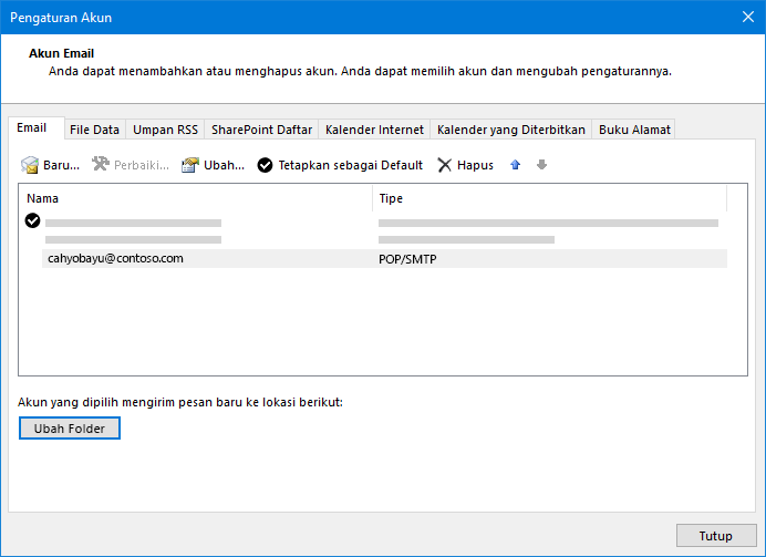 Dialog Pengaturan akun Outlook