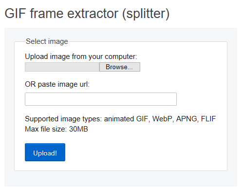 Mengunggah GIF ke situs web EZGIF.com