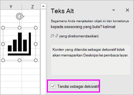 Kotak centang Tandai sebagai dekoratif dipilih di panel teks ALT.