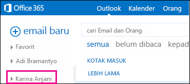 Tampilan folder bersama di Outlook Web App