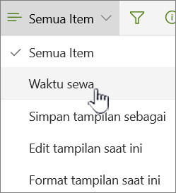 Tampilkan menu dengan tampilan alternatif yang dipilih