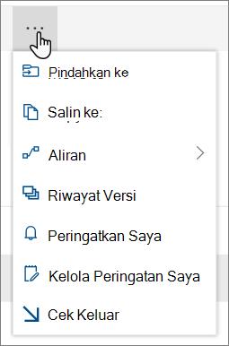 Opsi Pindahkan ke dan salin ke menu di navigasi atas untuk SharePoint online saat file atau folder dipilih
