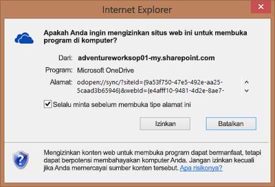 Cuplikan layar kotak dialog di Internet Explorer yang meminta izin untuk membuka Microsoft OneDrive