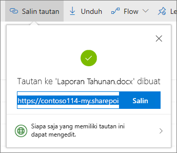 Salin link di OneDrive for Business