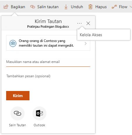 Cuplikan layar dialog bagikan dengan memperlihatkan link mengelola akses setelah mengklik elipsis.