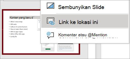 Memperlihatkan Link ke menu klik kanan Slide ini