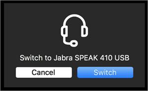 Beralih ke perangkat audio yang tersambung