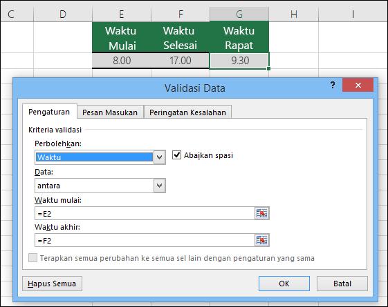 Pengaturan validasi untuk membatasi entri waktu dalam jangka waktu