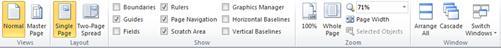 Tab tampilan memperlihatkan tampilan, tata letak, Perlihatkan, Zoom, dan jendela grup di Publisher 2010