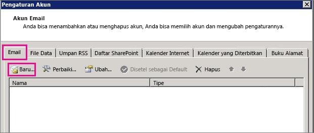 Cuplikan layar tab Email dalam kotak dialog Pengaturan Akun.
