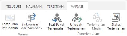 Cuplikan layar tab variasi dari situs target. Tab berisi dua grup, variasi dan terjemahan