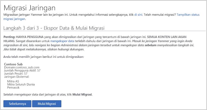 Cuplikan layar Langkah 3 dari 3 - Mengekspor Data & Memulai Migrasi