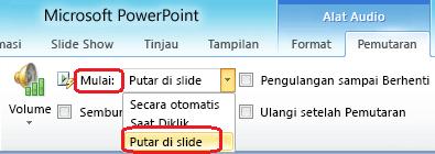 """Opsi """"Putar di sepanjang slide"""" untuk file audio di PowerPoint 2010"""