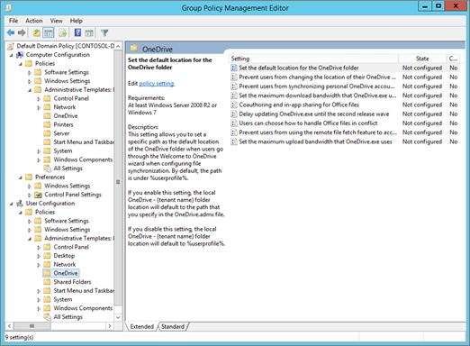 Pengaturan OneDrive di grup kebijakan manajemen Editor