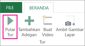 Tombol putar Tur di jendela Power Map