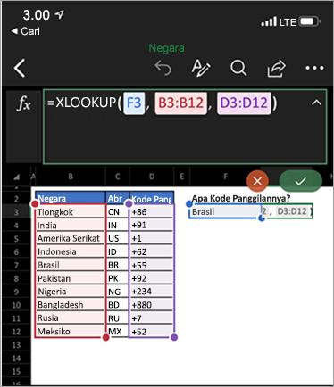 Memperlihatkan fungsi XLookup