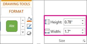 Kotak Tinggi dan Lebar pada tab Format Alat Menggambar