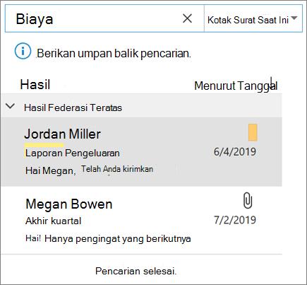 Menggunakan pencarian untuk menemukan email Anda di Outlook