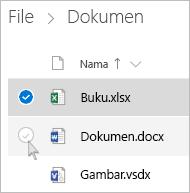 Cuplikan layar memilih file di OneDrive dalam tampilan daftar