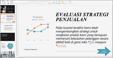 Presentasi dengan tautan yang diformat menggunakan warna berbeda