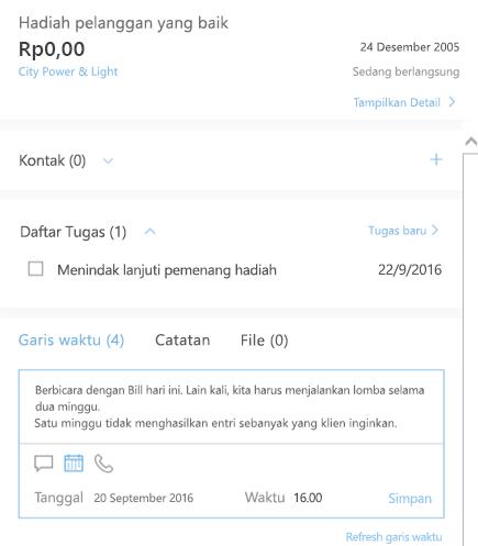 Menambahkan aktivitas baru di Outlook Customer Manager