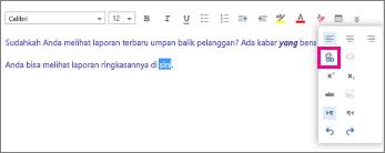 Cuplikan layar memperlihatkan tempat ikon sisipkan hyperlink berada.