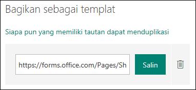 Link URL Templat formulir di samping tombol Salin dan Hapus.