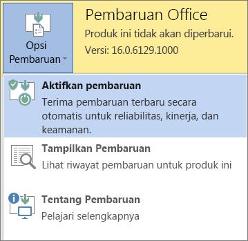 Klik Opsi Perbarui lalu Aktifkan pembaruan