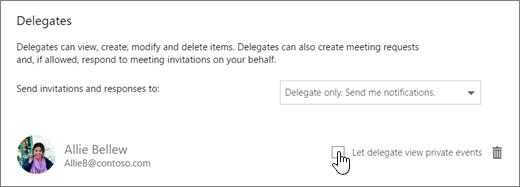 Cuplikan layar kotak centang Perbolehkan delegasi tampilan acara pribadi.