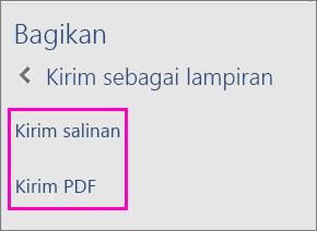 Gambar dua opsi di Panel Berbagi untuk mengirim dokumen melalui email sebagai salinan atau sebagai PDF