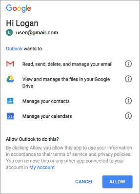 Klik Perbolehkan untuk memberi akses Outlook ke Gmail pesan, file, kontak, dan kalender