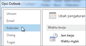 Di Opsi Outlook, klik Kalender.