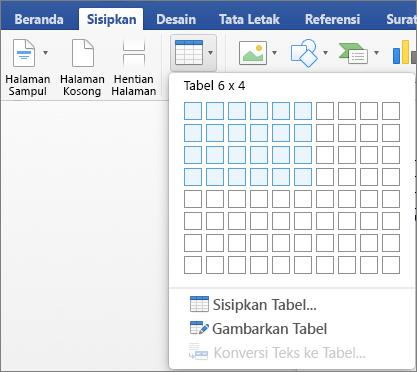 Pilih angka atau baris dan kolom untuk menyisipkan tabel dengan cepat