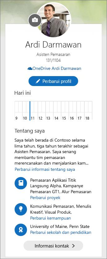 Cuplikan layar konten default area Tentang Saya dari papan alih Delve.