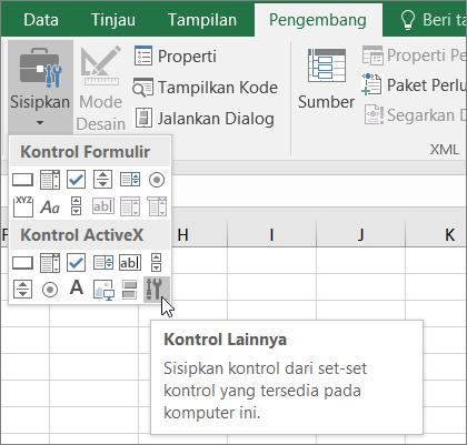 Kontrol ActiveX pada pita