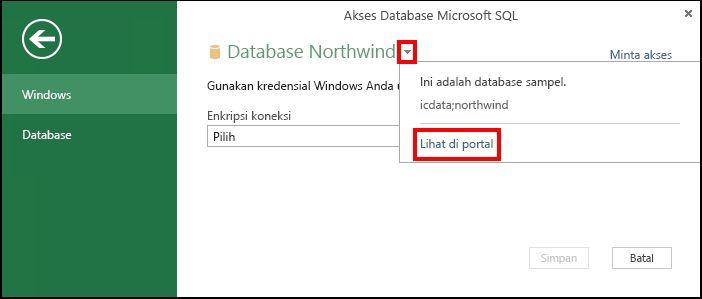 Menampilkan informasi sumber data di portal