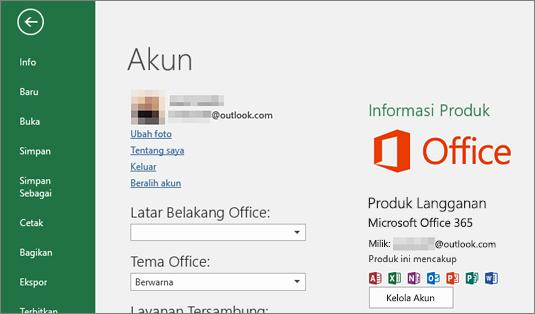 Akun Microsoft yang terkait dengan Office akan muncul di jendela Akun aplikasi Office