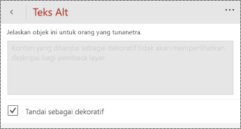 Opsi Tandai sebagai dekoratif dipilih dalam dialog teks Alt untuk PowerPoint untuk Windows Phone.
