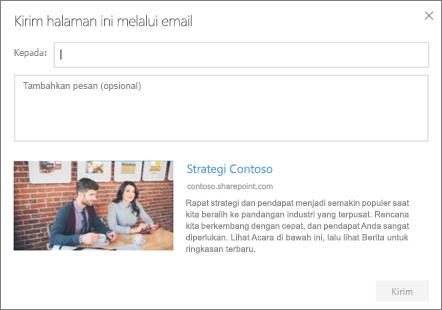 Mengirim dengan kotak dialog email