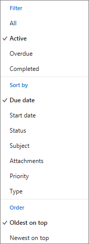 Pilih cara memfilter, mengurutkan, dan ordert tugas di daftar tugas Outlook.com