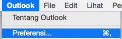 Memperlihatkan preferensi Outlook