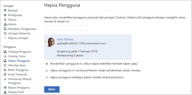 Cuplikan layar memperlihatkan cara menonaktifkan pengguna di Yammer