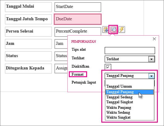 Gambar menu Pemformatan dalam aplikasi Access.