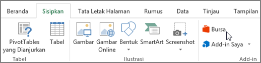 Cuplikan layar bagian dari tab Sisipkan di pita Excel dengan kursor yang menunjuk ke Store. Pilih penyimpanan untuk masuk ke bursa Office dan Cari add-in untuk Excel.