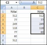 Nilai ssli di kolom A dan nilai unik dari kolom A dibuat di kolom C