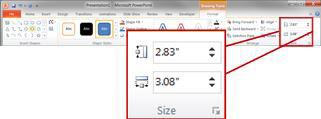 Grup Ukuran pada tab Format di bawah Alat Menggambar