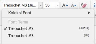 Cuplikan layar memperlihatkan opsi font tema untuk judul dan isi yang tersedia melalui kontrol turun Font dalam grup Font pada tab Beranda.