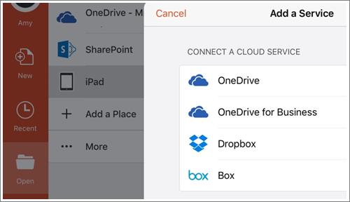Cuplikan layar menambahkan tempat di PowerPoint untuk iPad.