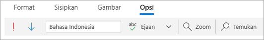 Cuplikan layar tab opsi