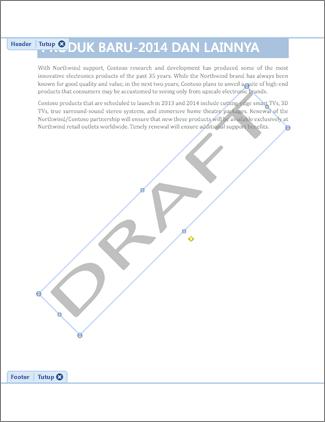 Gambar dokumen dengan cap air Draf.